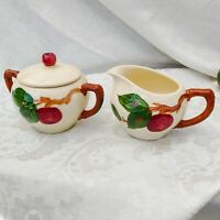 Vintage Franciscan Apple Hand Painted Creamer & Sugar Bowl Set Made in the USA