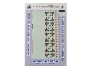 HO Christmas Candy Canes, Snowflakes & Holly Decals - Microscale #87-1119 r