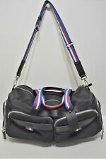 Lancel, Superbe sac Week-end, en toile et cuir noir et anses tricolor