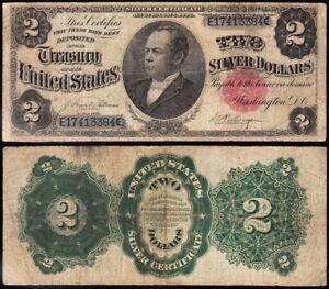"""Nice RARE 1891 $2 """"WINDOM"""" Silver Certificate! FREE SHIPPING! E17413384"""