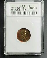 1951 D/S Lincoln Wheat Cent Penny Error ANACS MS64 RB FS-021.5 FS-511 Breen-2202