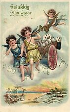 Clapsaddle ? angels cherubs with letters New year postcard