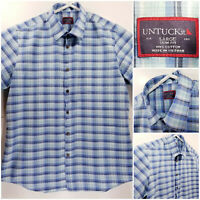 UNTUCKit Slim Fit Mens Large Shirt Short Sleeve Button Up Blue Plaid