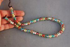 "Lampwork Glass Bead Strand 11x10mm 16"" Rainbow Flower 42 Beads 2mm Hole Loose"