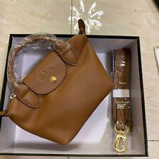 2020 Longchamp Le Pliage Cuir Leder Damentasche Schultertasche Handtasche Braun