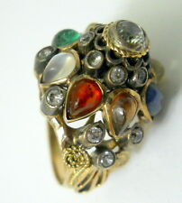 Vtg Harem Princess Dome Ring Size 5.5 Colorful Teardrop Gems Gold Filagree 1940s
