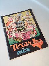 Texas Longhorns vs Rice Owls 1965 Football Program John Churchill Chase