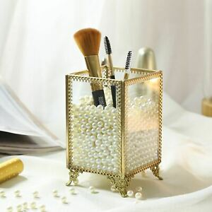 Gold Glass Makeup Comestic Organizer , Brush Holder, plastic pearls included