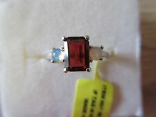 Mozambique Garnet Ethiopian Welo Opal Ring Platinum Overlay Sterling Silver Sz 5
