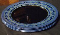 Arcoroc Yucatan Dinner Plates Black & Blue Set Of 4
