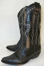 Vintage Wos Boot 6 Black Leather contrast stitch Cowboy Western Rockabilly 4687