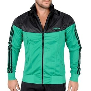Adidas Herren Trainingsjacke Kapuzen Sport Jacke Windjacke Tracktop schwarz/grün