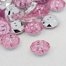 LOT 10 BOUTONS FANTAISIES STRASS ROSE 18 mm - 2 TROUS - COUTURE SCRAPBOOKING