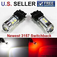 PAIR 3157 White/Red Switchback 20-SMD 5730 LED Turn Signal Corner Light Bulbs