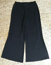 Women's Soft Surroundings Elastic Slinky Stretchy Waist Black Wide Leg Pants