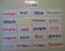 20 Color Words Lamianted Flashcards.  Preschool and Kindergarten.  20 Flashcards