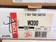Nsi Tork W200 Mechanical Timer, 7 Day, Dpst, Nema 1, 40A, 120V