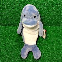 TY Beanie Baby 1996  Echo The Dolphin Rare Retired PVC Plush MWMT -FREE Shipping