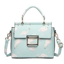 Pink Ladies PU Leather Flamingo Print Shoulder Handbag Satchel Tote Bag