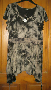 Ladies Brown and Black Size 18 Cap Sleeve Tie Back Hip Length Top by Yours