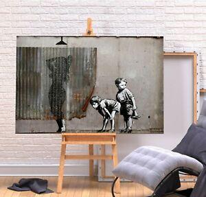 BANKSY SHOWER BOYS PEEPING - DEEP FRAMED CANVAS WALL ART PICTURE PRINT- GREY