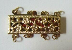 4 Strand 14K Gold Filled Filigree Long Clasp 13x23mm Bracelet Necklace Jewelry