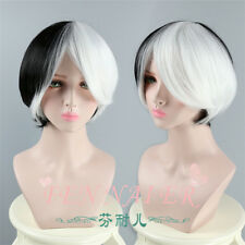 Half Black White Short Straight Cosplay Wigs Synthetic Woman's  Full Hair Wig