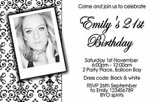 Personalised 18th 21st 30th 40th 50th Adult Birthday Invitations Photo invites