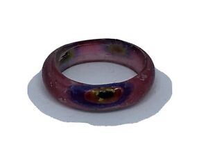 Pink Glass Ring 'Eye Pattern' Size R.