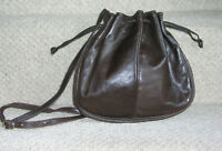 JAEGER CHOCOLATE BROWN LEATHER BUCKET BAG DRAWSTRING BAG MADE IN ITALY