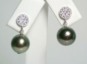 10mm AA+ quality peacock Tahitian saltwater pearl & sterling silver earrings