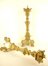 Pair of candles pikes XIX th Paire de piques cierges en bronze massif  H:44 cm