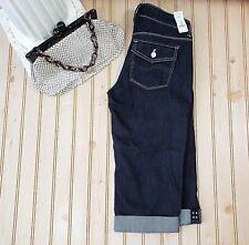 NWT White House Black Market Size 00 Noir Black Pedal Pusher Denim Capri Jeans