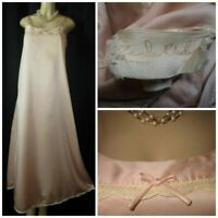 "RARE Vtg 60's ZANDRA RHODES Nightgown Lingerie S 34"" Powder Pink Exquisite Lace"