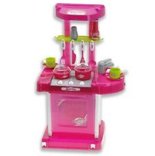 "26"" Portable Kitchen Appliance Oven Cooking Play Set Light & Sound Pink Toy Kids"