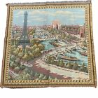 """Vintage Tapestry Eiffel Tower Paris Made in France Pillow Or Wall Hanging 20x20"""""""