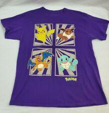 Pokemon Pikachu Squirtle Eevee Charizard Purple Men T-Shirt LG NINTENDO