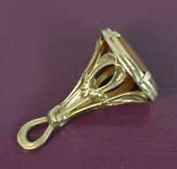Victorian Design 9 Carat Gold and Banded Agate Fob Pendant p1857