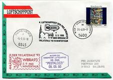 1993 Luftschiffpost n. 4 Pro Juvent Dirigibile HB-BWA Pestalozzi Trilaterale ONU