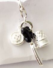 LOVELY SEWING SCISSORS,BUTTON AND COTTON REEL  CLIP ON CHARM FOR BRACELETS - S/P