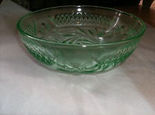 FLORAL AND DIAMOND BAND DEPRESSION GLASS-8 INCH LARGE BERRY BOWL IN GREEN