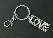 Key Chain Crystal LOVE Silver Purse Charm Ring Zipper Pull Mothers Day Gifts