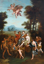 "17th Century Mythological Oil.  Bacchus and Ariadne 57"" x 41"""