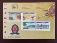 Canada Stamp Souvenir Sheet - 1992 CANADA 92 SOUVENIR SHEET(UT 1407a) Sheet of 4