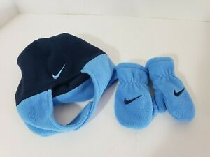 Nike Toddler Knit Cuffed Hat and Gloves Set Blue Baby Blue