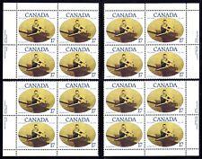 CANADA 1980 ROWER NED HANLAN 17¢ STAMPS, SET OF 4 INSCRIPTION BLOCKS, Scott #862
