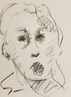 JOSE TRUJILLO Original Charcoal Paper Sketch Drawing 9X12 EXPRESSIVE PORTRAIT