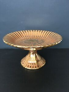 Vtg Stangl Granada Gold Pedestal Dish Hand Painted 22K Art Pottery With Tag