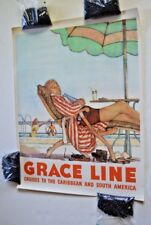 Vintage travel poster for Grace Line Cruise Ship by Douglass, signed