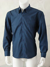 "3 Men's Duke Long Sleeve Shirts Blue, Burgundy Charcoal 50"" Chest Size Large New"